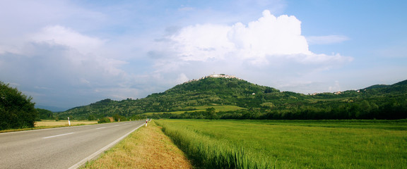 Landscape view of medieval town Motovun, Croatia.