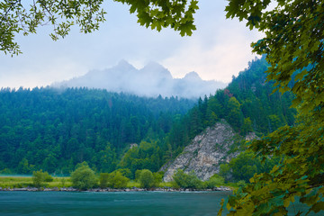 Foggy morning over The Dunajec River Gorge. Nature reserve.