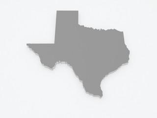 Three-dimensional map of Texas. USA.