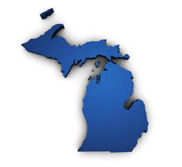 Map Of Michigan 3d Shape