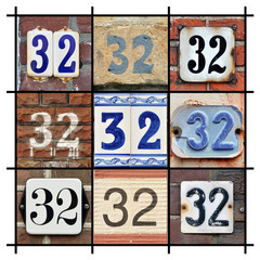 Collage of House Numbers Thirty-two