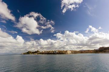 city of Corfu island from sea view