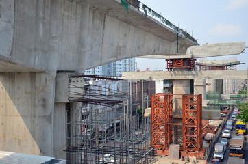Building Railway SkyTrain Construction Site at Bangkok Thailand
