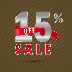 15 percent off, 15 sale discount text- vector EPS10