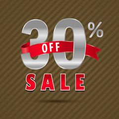 30 percent off, 30 sale discount text- vector EPS10