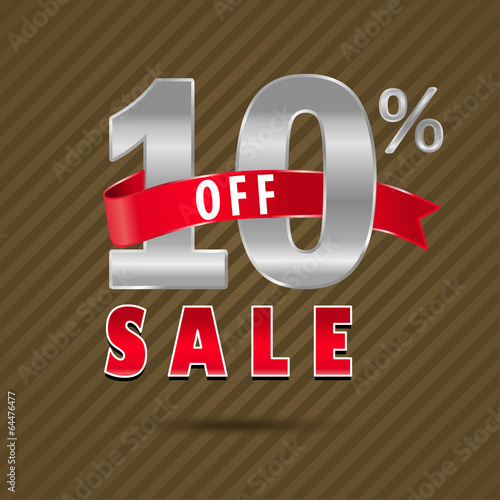10 percent off, 10 sale discount text- vector EPS10