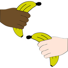 Hands holding bananas