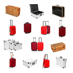 Great collection of a different type of a suitcases.