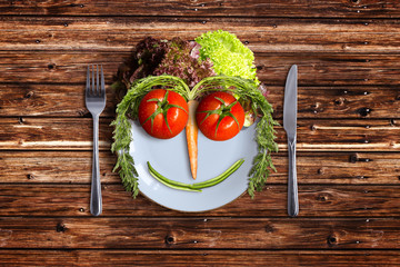 Plate with Vegetable Face