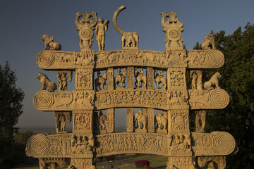 North gateway of Great Stupa at Sanchi. Madhya Pradesh, India