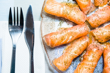 Canapes with fresh salmon and cream cheese