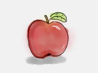Apfel in Wasserfarben