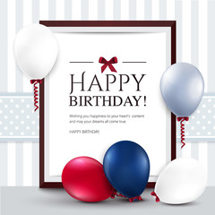 Vector birthday card with balloons and frame.