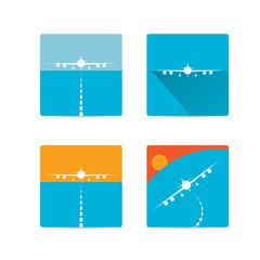 vector flat airplane icon set.