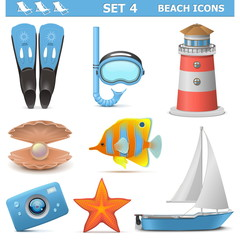 Vector Beach Icons Set 4