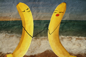 couple in love on the beach, banana