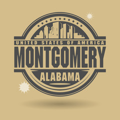 Stamp or label with text Montgomery, Alabama inside