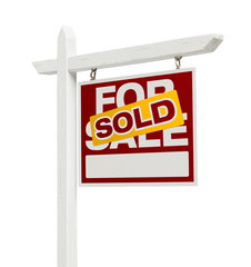 Sold For Sale Real Estate Sign with Clipping Path