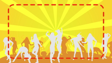 Silhouette Dancers yellow background