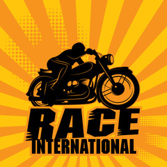 Abstract background with the words Race International inside