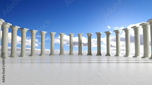Zdjęcia na płótnie, fototapety, obrazy : Ancient marble pillars in elliptical arrangement with blue sky
