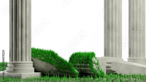 Ancient marble pillars with one broken and grass isolated