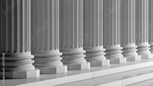 Deurstickers Oude gebouw White ancient marble pillars in a row