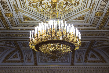 Gold chandelier in the Hermitage Museum