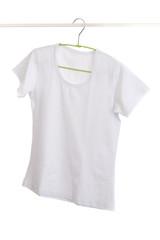 white t-shirt on hanger.