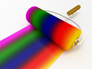 rainbow color with roller brush