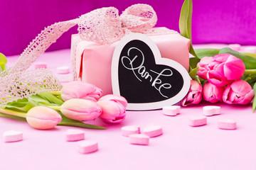 rosa Tulpen, Geschenk, Herzen, Tafel, Danke