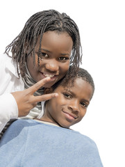 Young Afro girl and boy, isolated