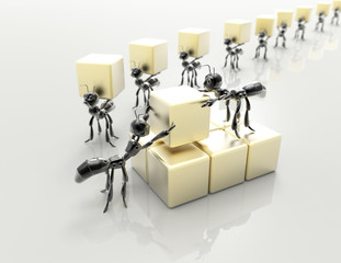 Business team 3d black ants