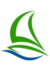 sail boat  wind icon logo