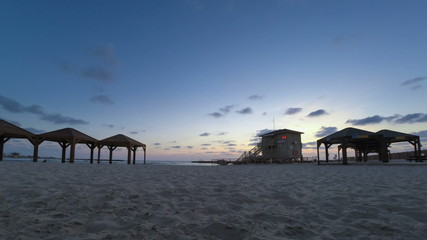 Tel Aviv beach sunset panoramic time lapse