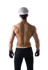 Muscular shirtless male sailor with nautical hat