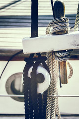 Nautical ropes on sailboat
