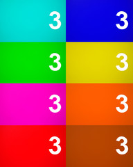 Number three 3 on colored metal background