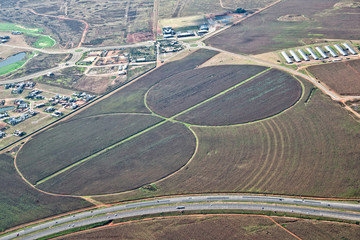 Agriculture irrigation circles, aerial photography