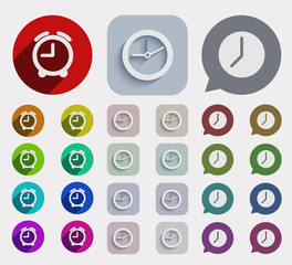 vector modern flat time icons set