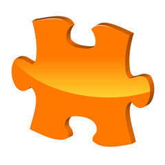 Orange puzzle 3d pie icon