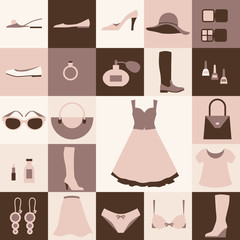 Fashion flat icons pattern