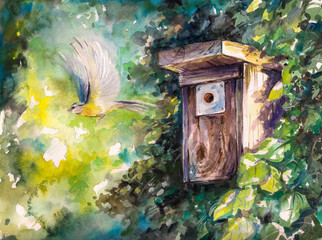 Birdhouse.Watercolors.