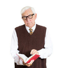 Portrait old senior teacher holding a book isolated on white