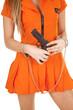 canvas print picture - prisoner orange gun body close