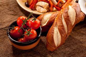 Dish with tomato and bread