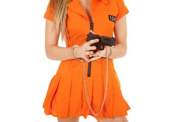 prisoner orange gun body handcuff