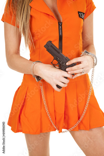 canvas print picture prisoner orange gun body close