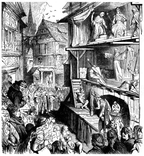 Leinwanddruck Bild Mystery Plays - Jeu de la Passion - 15th-16th century