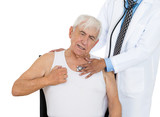 chest examination. senior elderly man visit in doctor office